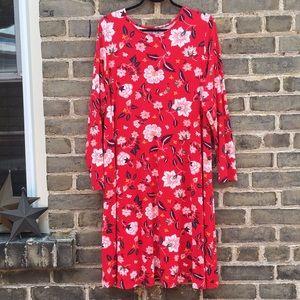 Old Navy, NWOT Red Floral Swing Dress